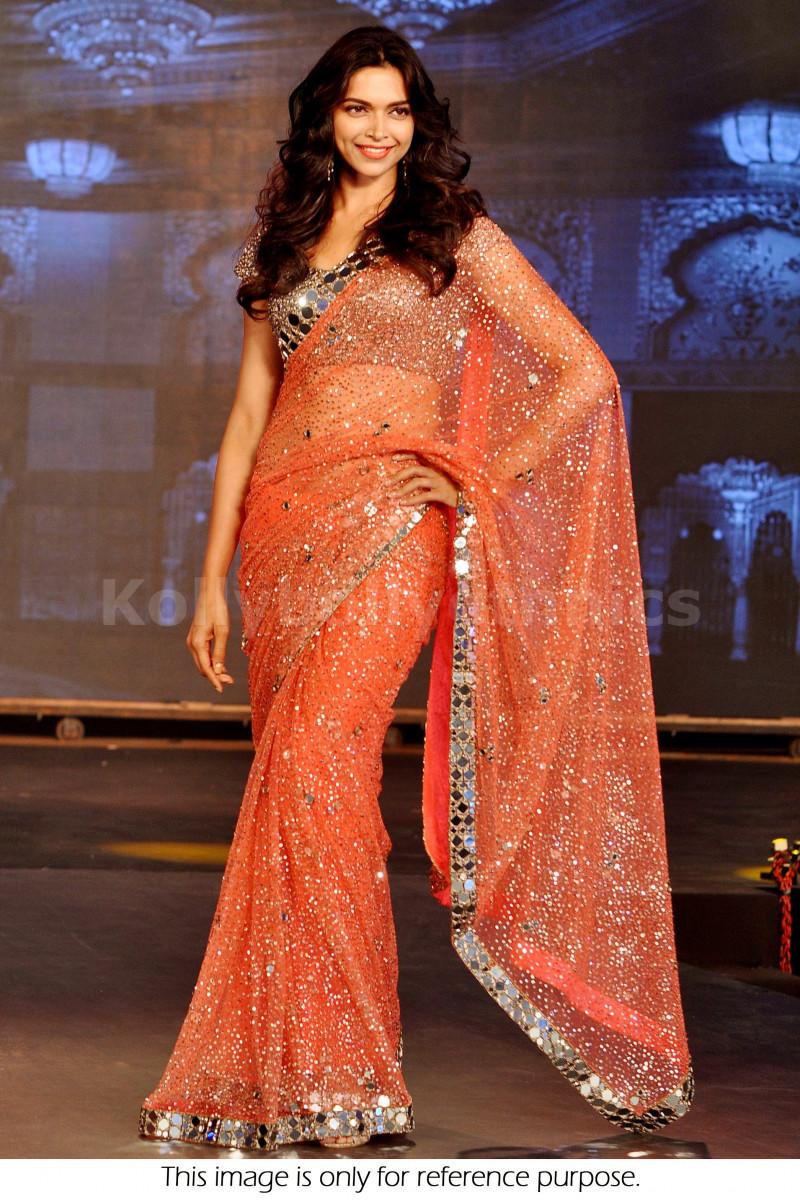 New Designer Peach Color Sequin Work With Mirror Deepika ...