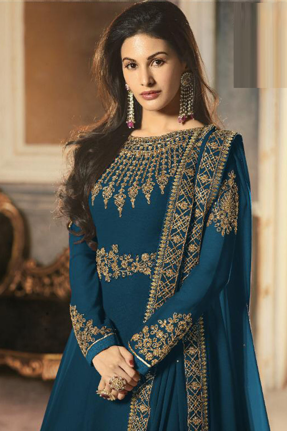 Latest Designer Georgette Embroidery Dark Aqua Blue Color Anarkali  Suit