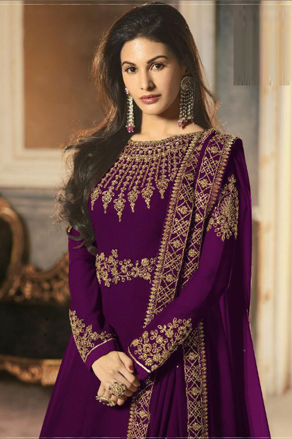 Latest Designer Georgette Embroidery Purple  Color Anarkali  Suit