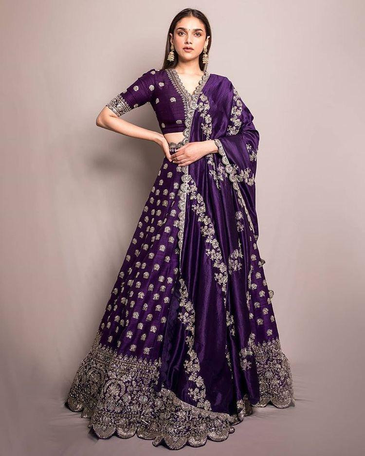 Latest Purple Color Benglory Silk With Embroidery Work Lehenga Choli