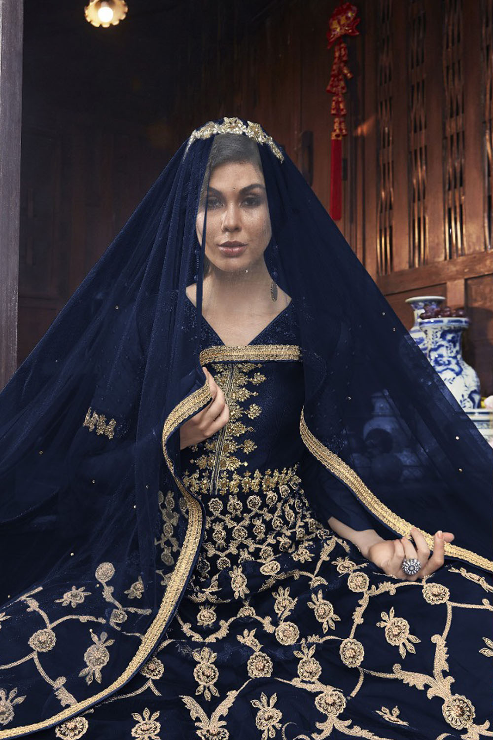 Latest Blue Color Mono Soft Net With Embroidery & Stone Work Salwar Suit