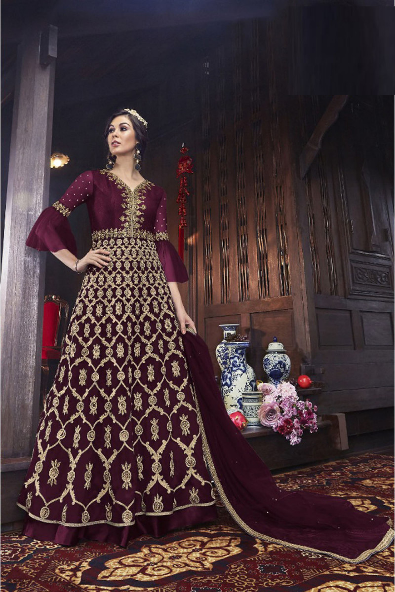 Latest Maroon Color Mono Soft Net With Embroidery & Stone Work Salwar Suit