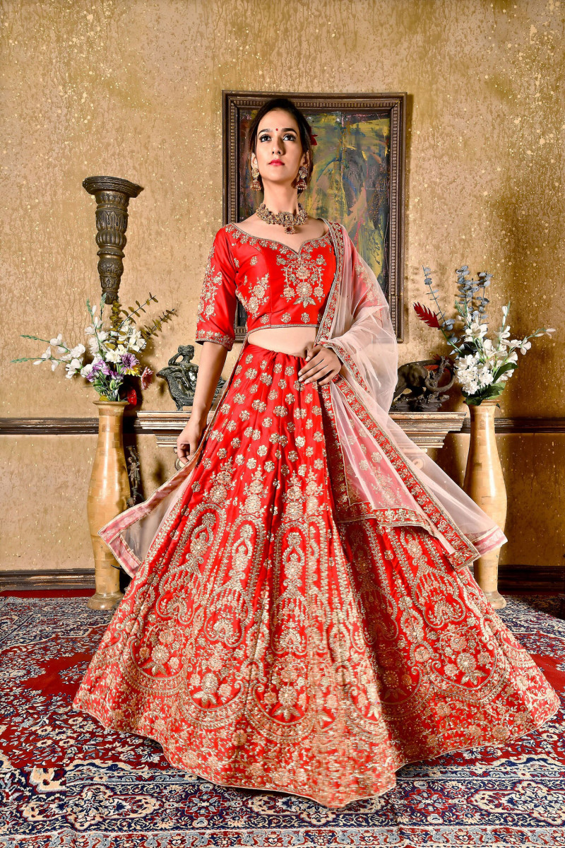 Bride Red  Color  Embroidery Work Lehenga choli