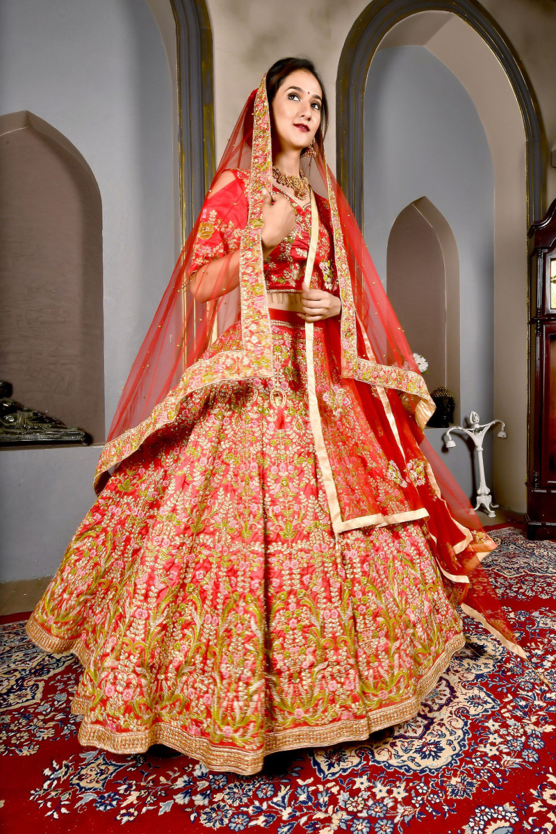 New Stunning Candy  Red Color Bridal Wear Embroidery Work Lehenga Choli