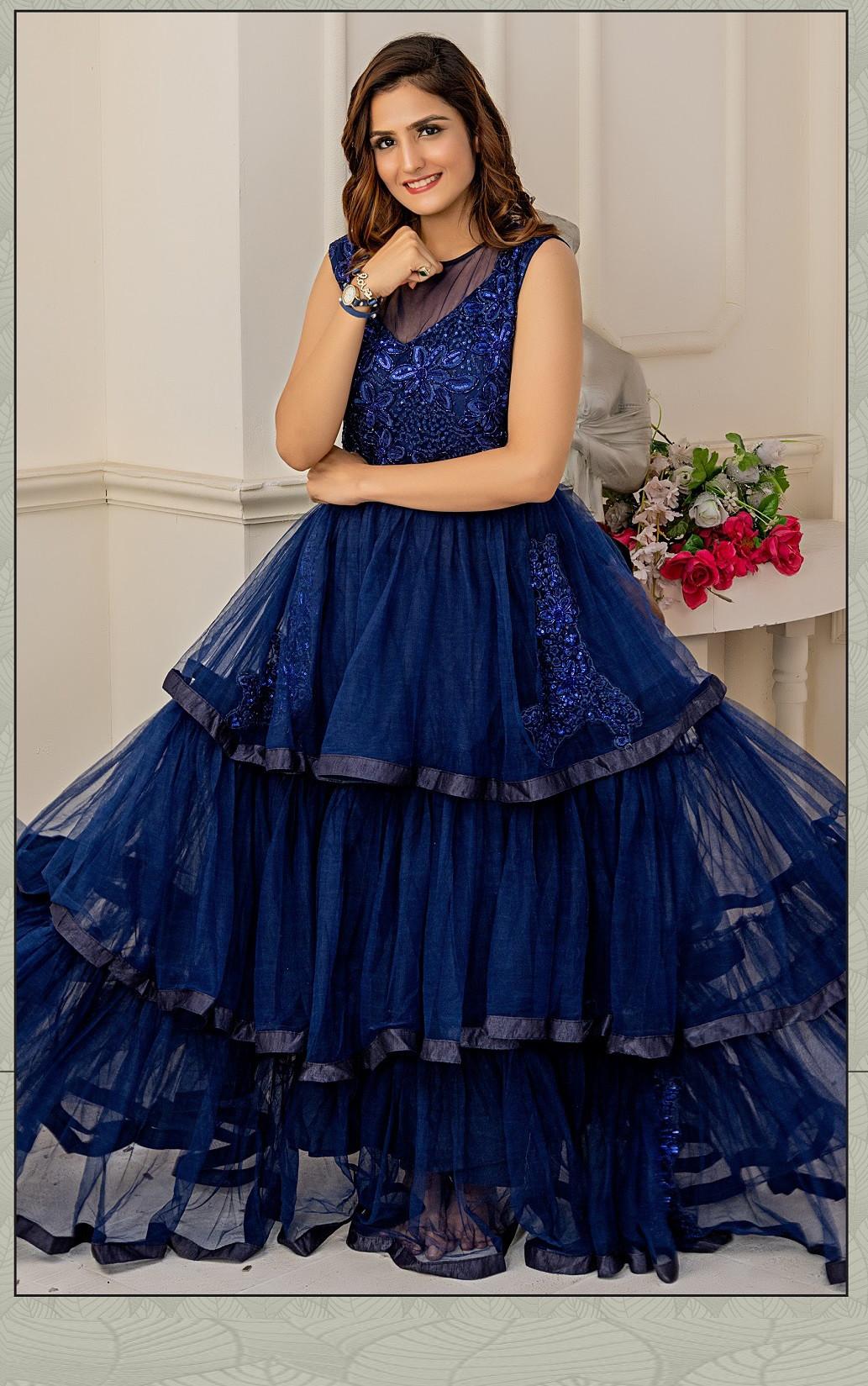 Pleasant Navy Blue Color Soft Net Wedding Wear  Indo Western Gown