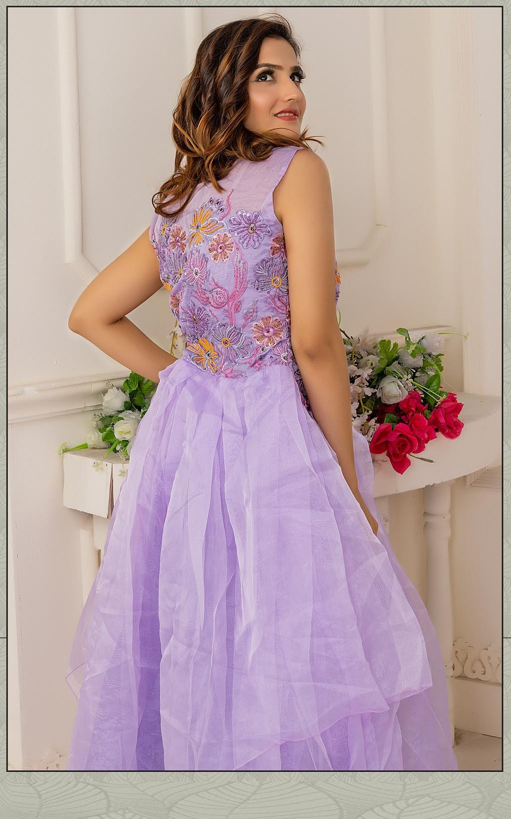 Party Wear Light Purple Color Soft Net Indo Western Gown