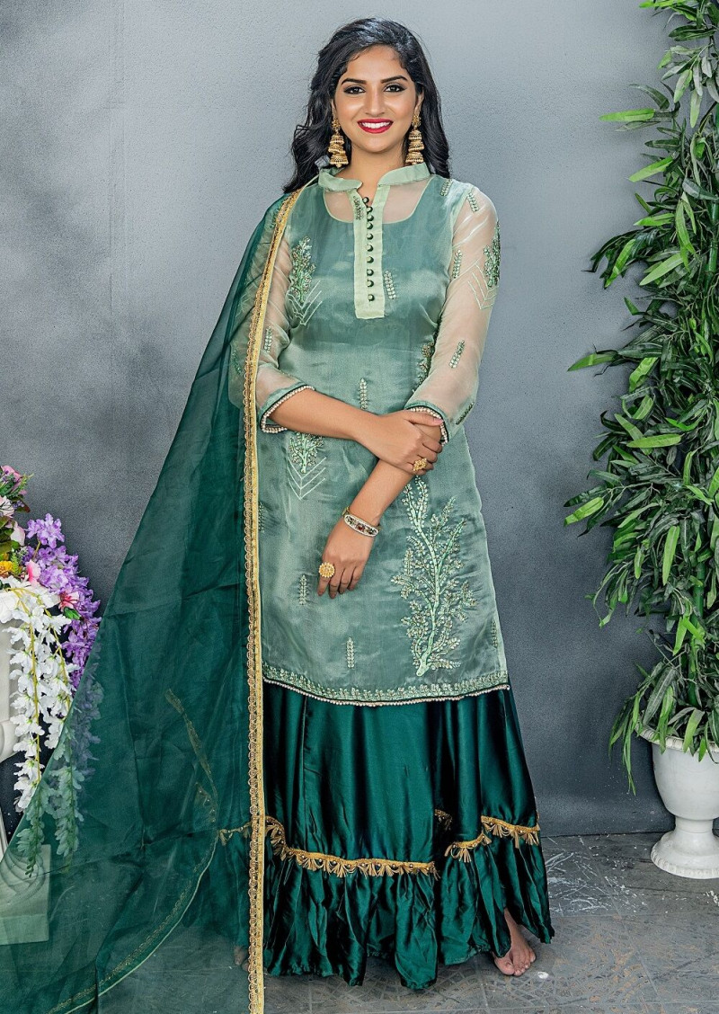 Exclusive Bottle Green Color Embroidery Work Party Wear Salwar Suit