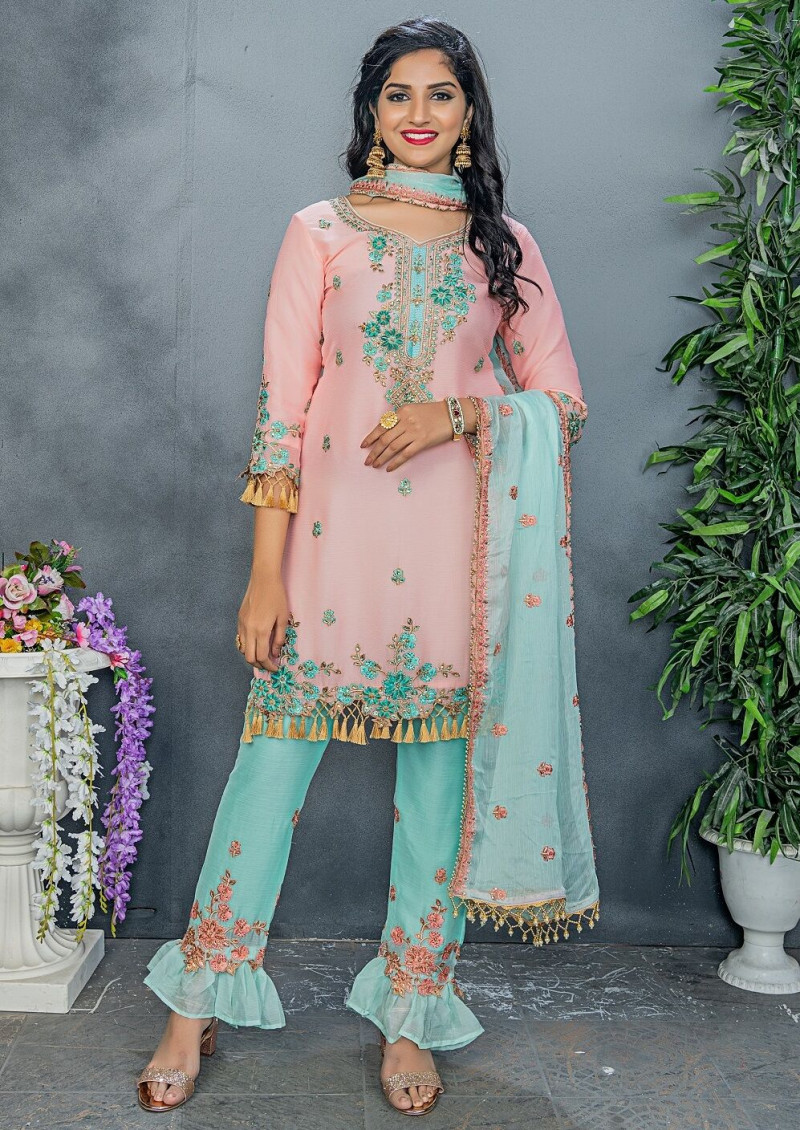 New Stylish Light Pink  Color Party Wear Embroidery  Salwar  Suit