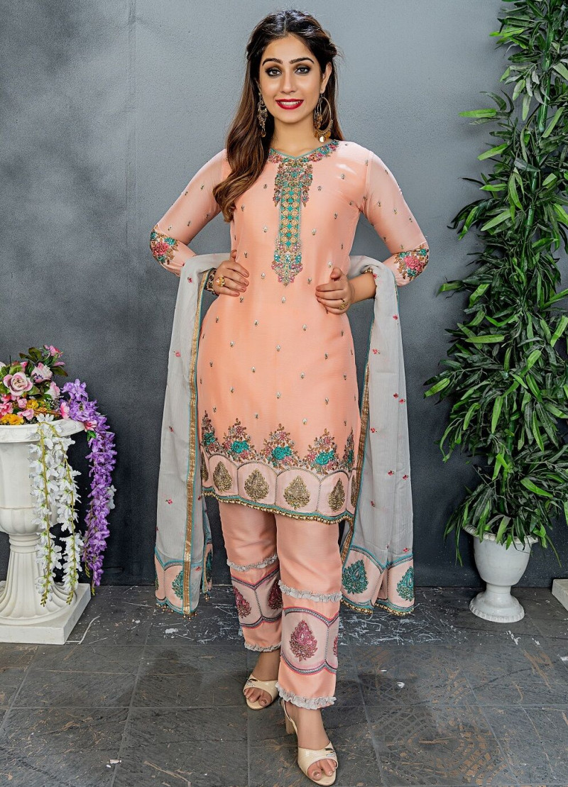 Glowing Peach Color Party Wear Embroidery Work Salwar Suit