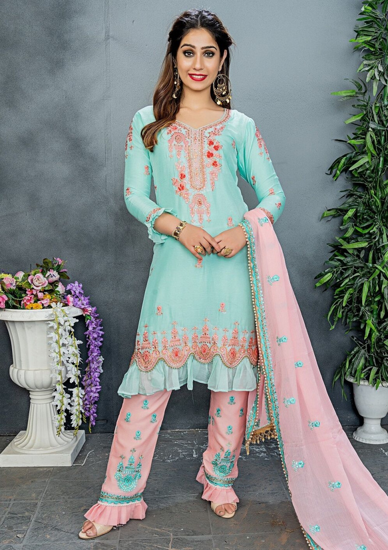 New Trendy  Mint Color Party Wear Embroidery Work Salwar Suit