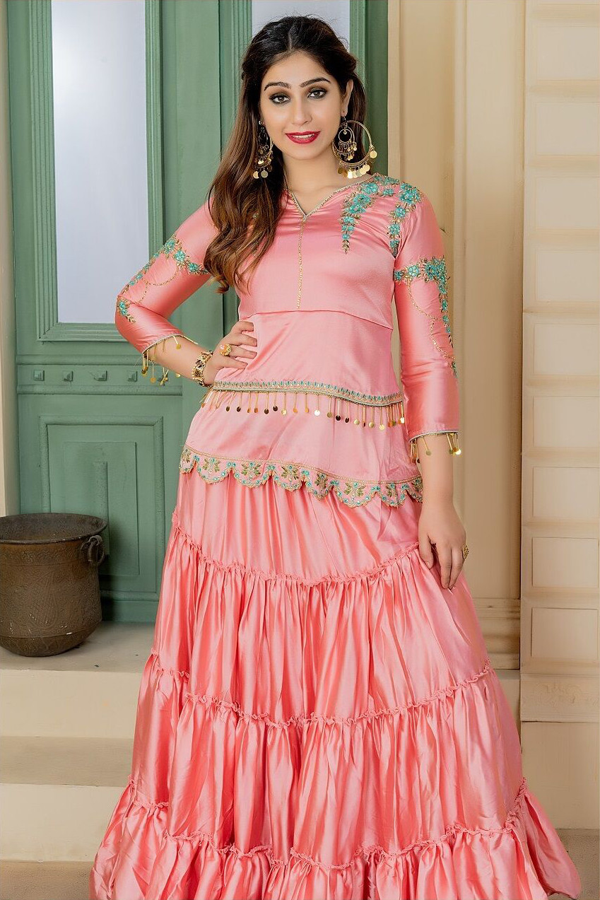 Most Baby Pink Color Party Wear Embroidery  Sharara Suit