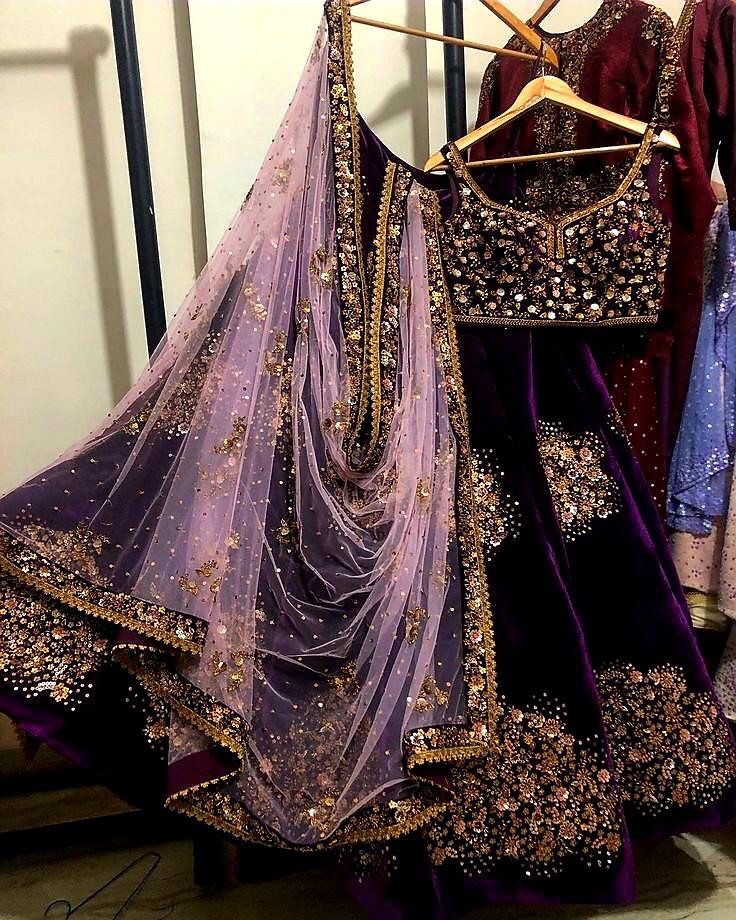 Stylish Purple Color Heavy Embroidery Sequin Work Lehenga Choli