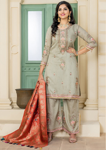 New Presenting Olive Green Color Party Wear Salwar Suit