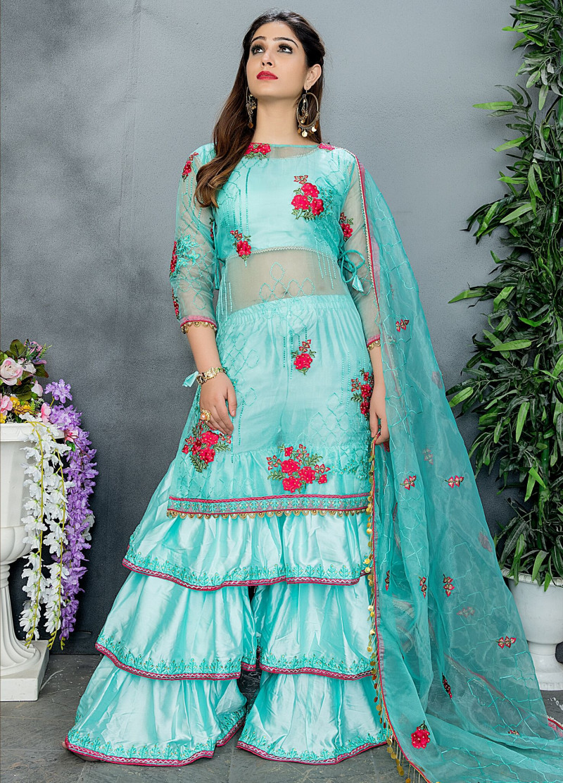 Stunning Exotic Arctic Color Party Wear Embroidery  Sharara Suit