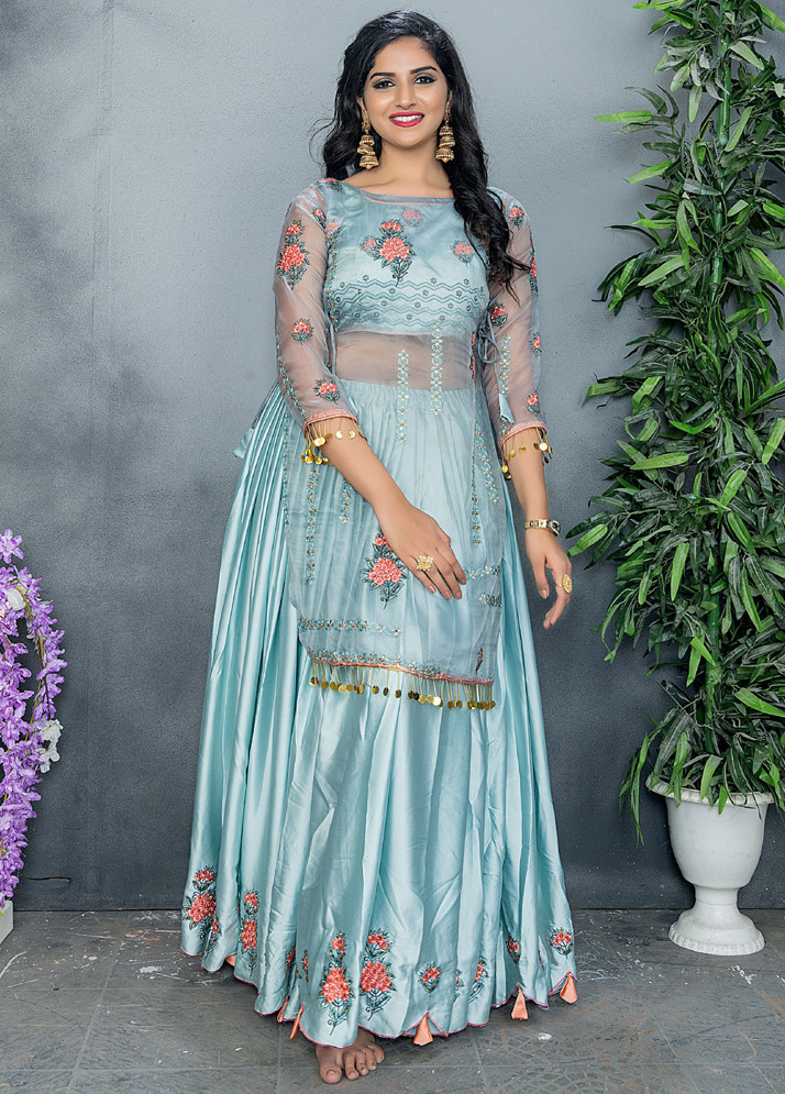 Latest Designer Ice Grey Color Embroidery Party Wear Sharara Suit