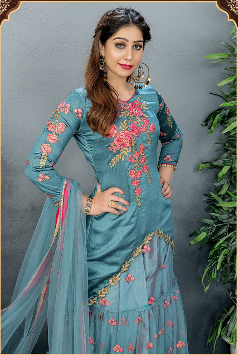 Fancy Chinon Color Party Wear Embroidery Sharara Suit