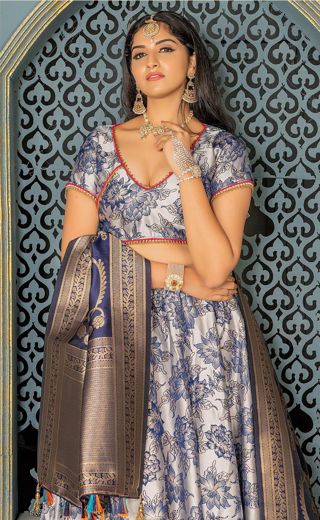 Wonderful Light Grey Color Bridal Wear Embroidery Work Lehenga Choli