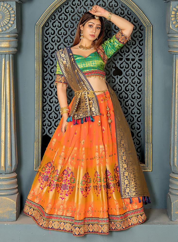 Designer Orange Color Bridal Wear Embroidery Work Lehenga Choli