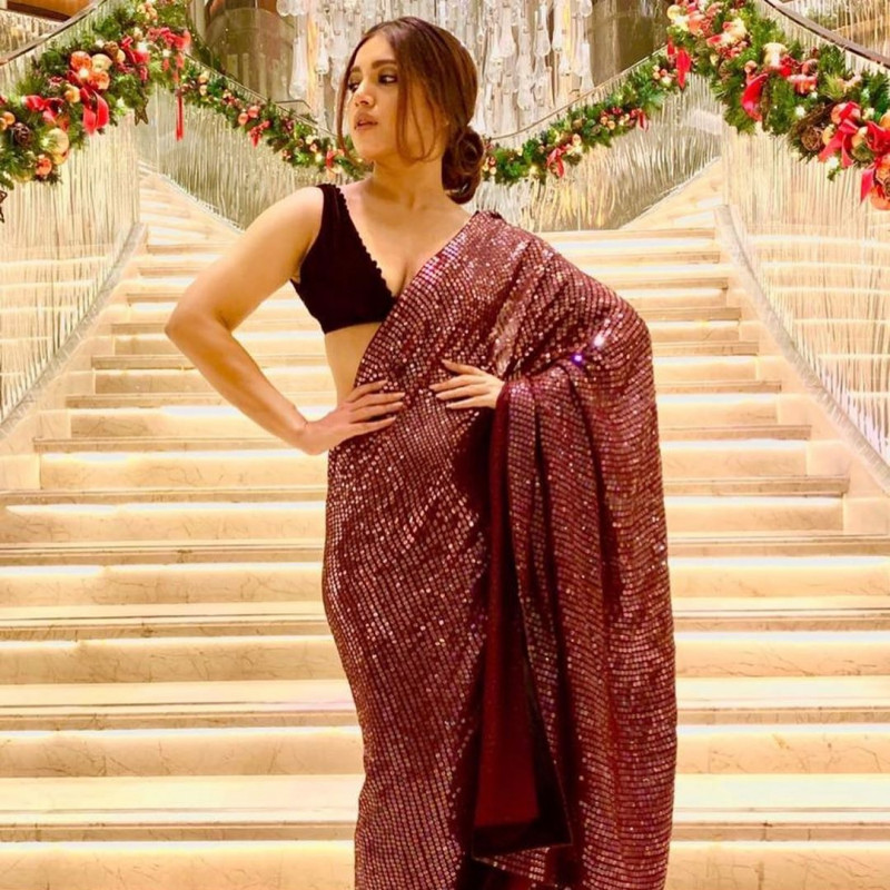 Maroon Color Georgette Sequin Bollywood Saree