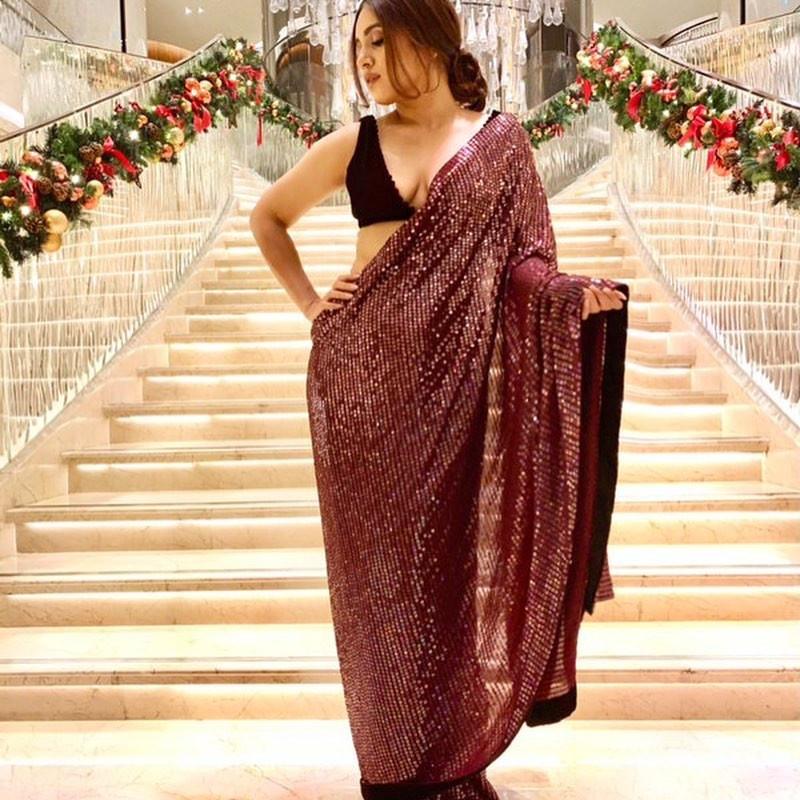 Bhumi Pednekar Wear Maroon Color Georgette Sequin Bollywood Saree