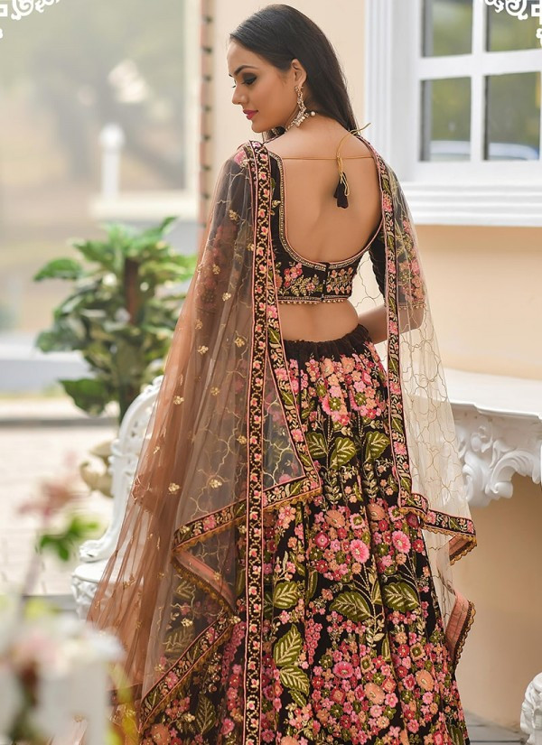 Stunning Brown Color Bridal Wear Embroidery Work Lehenga Choli