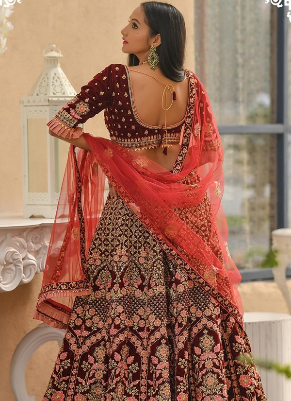 Glowing Maroon Color Bridal Wear Embroidery Work Lehenga Choli