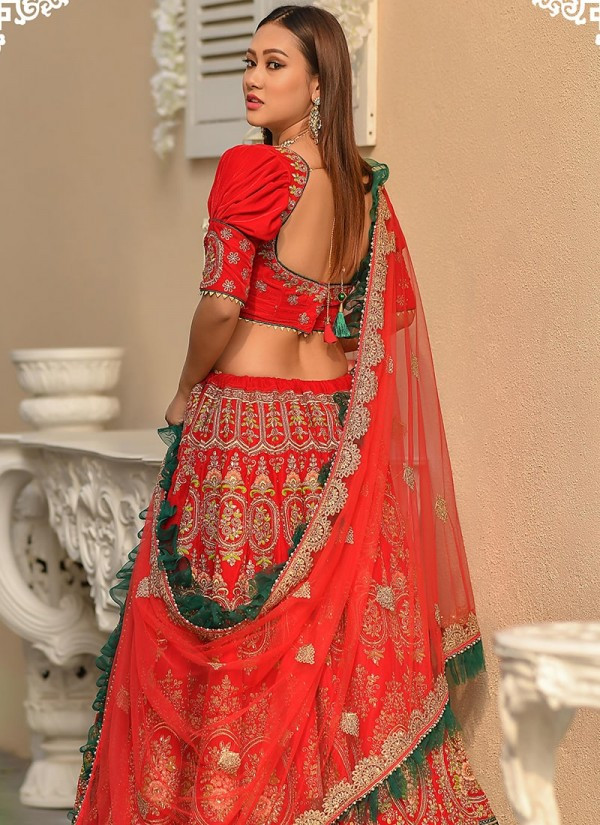 Most Stylish Red Color Bridal Wear Embroidery Work Lehenga Choli