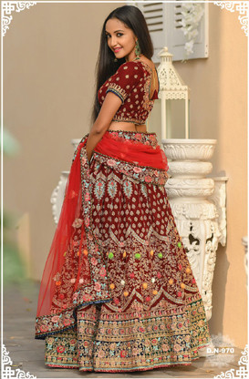 New Arrival Maroon Color Bridal Wear Embroidery Work Lehenga Choli