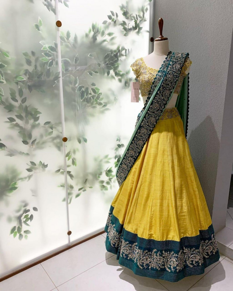 Stylish Yellow Color Embroidery Work Heavy Taffeta Silk Lehenga Choli