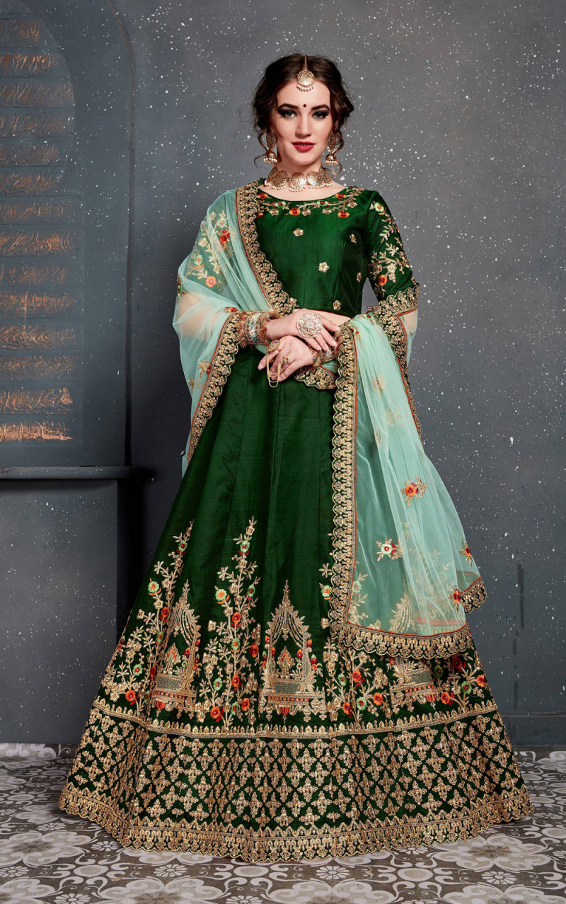 New Presenting Dark Green Color  Embroidery With Diamond Work Lehenga Choli