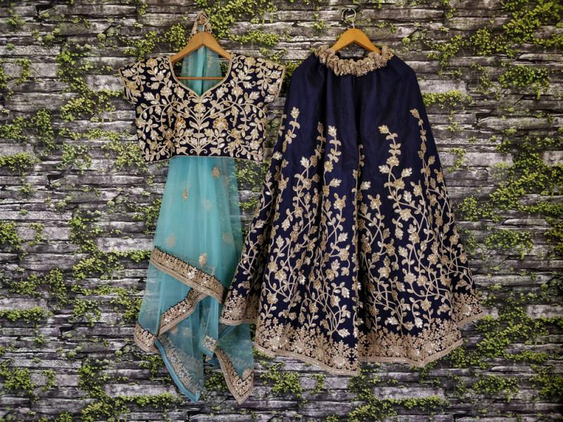 Designer Navy Blue Color Heavy Embroidery Work Lehenga Choli