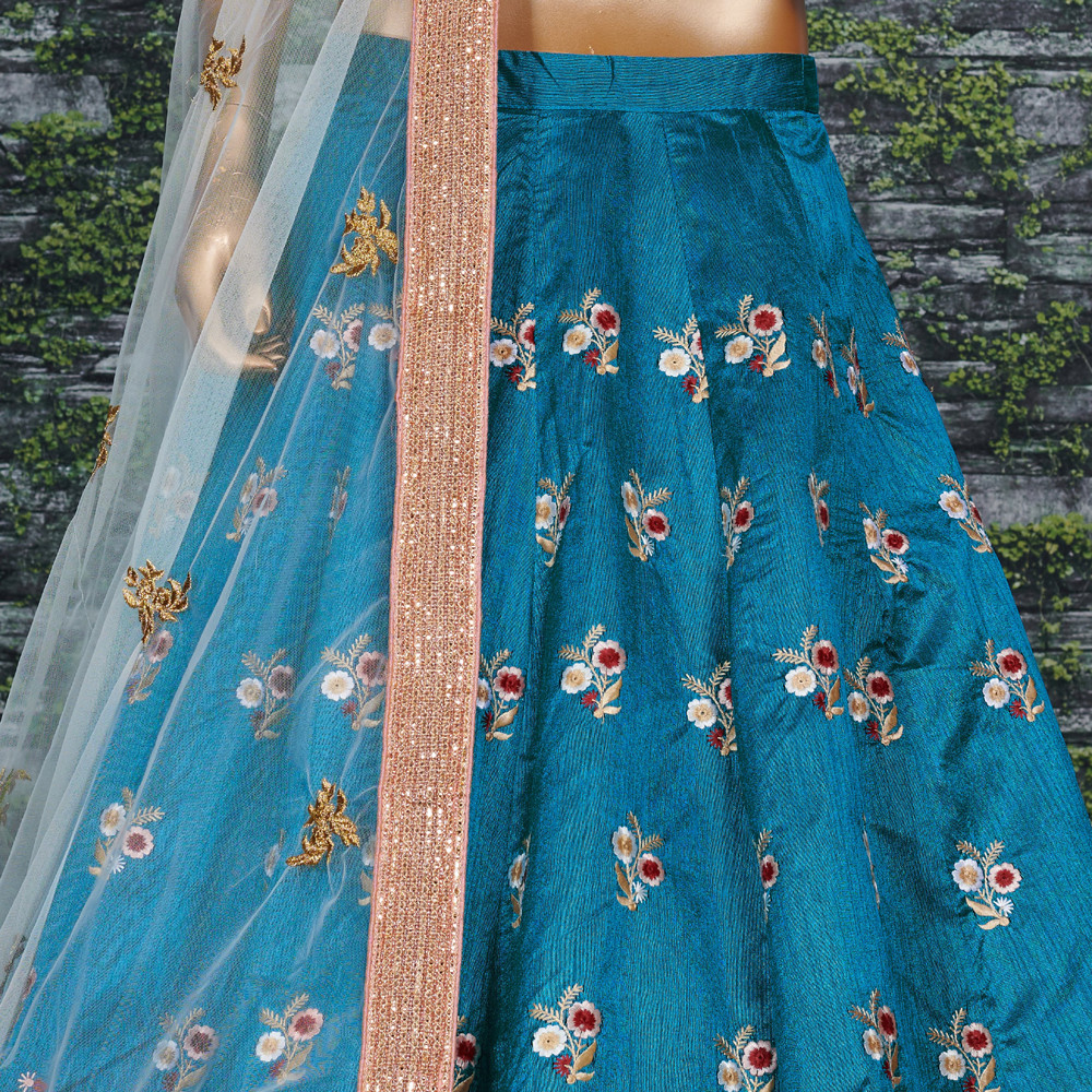 Beautiful Teal Blue Color Party Wear Lehenga Choli