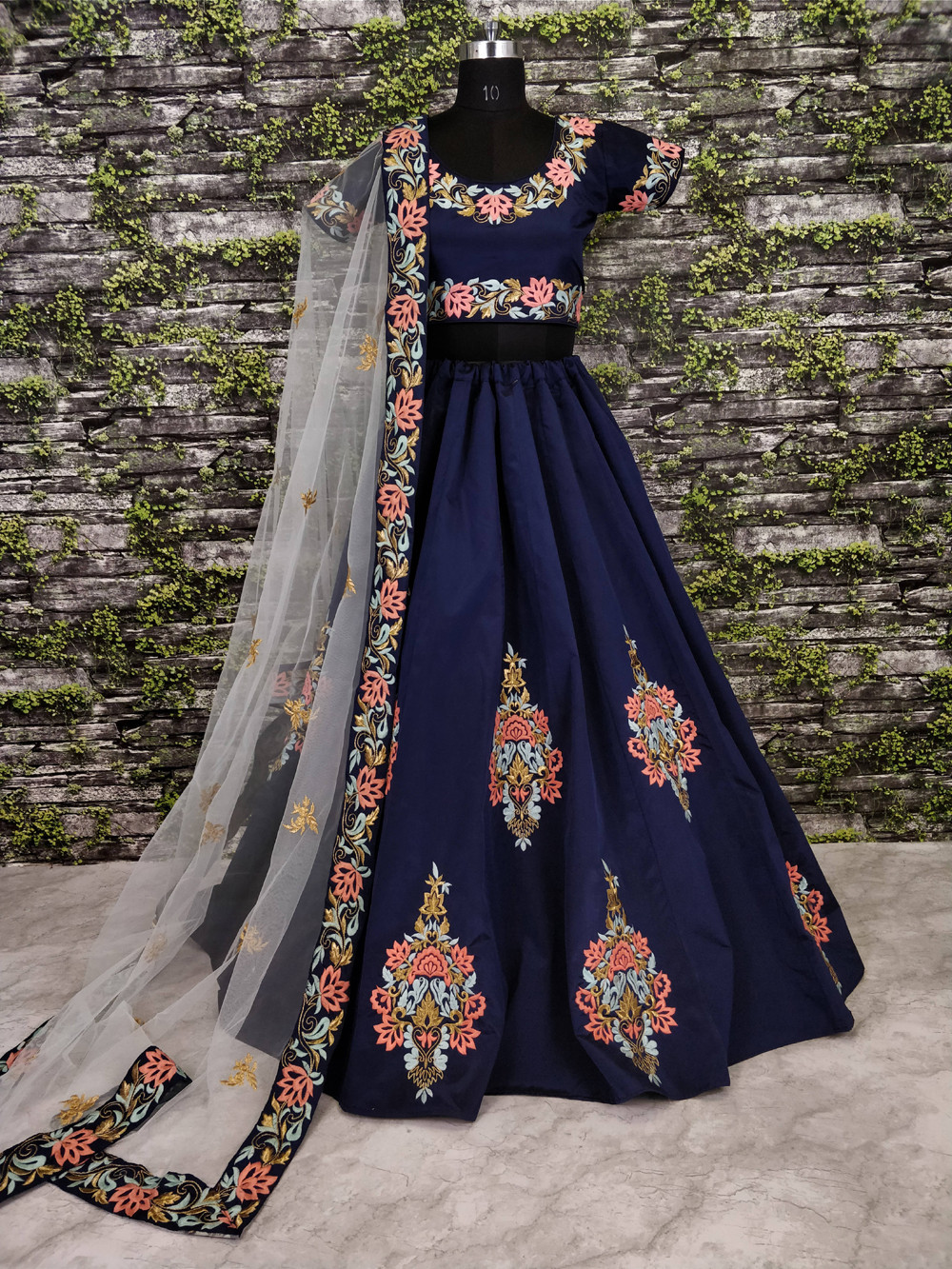 New presenting Navy Blue Color Embroidery Work Lehenga Choli