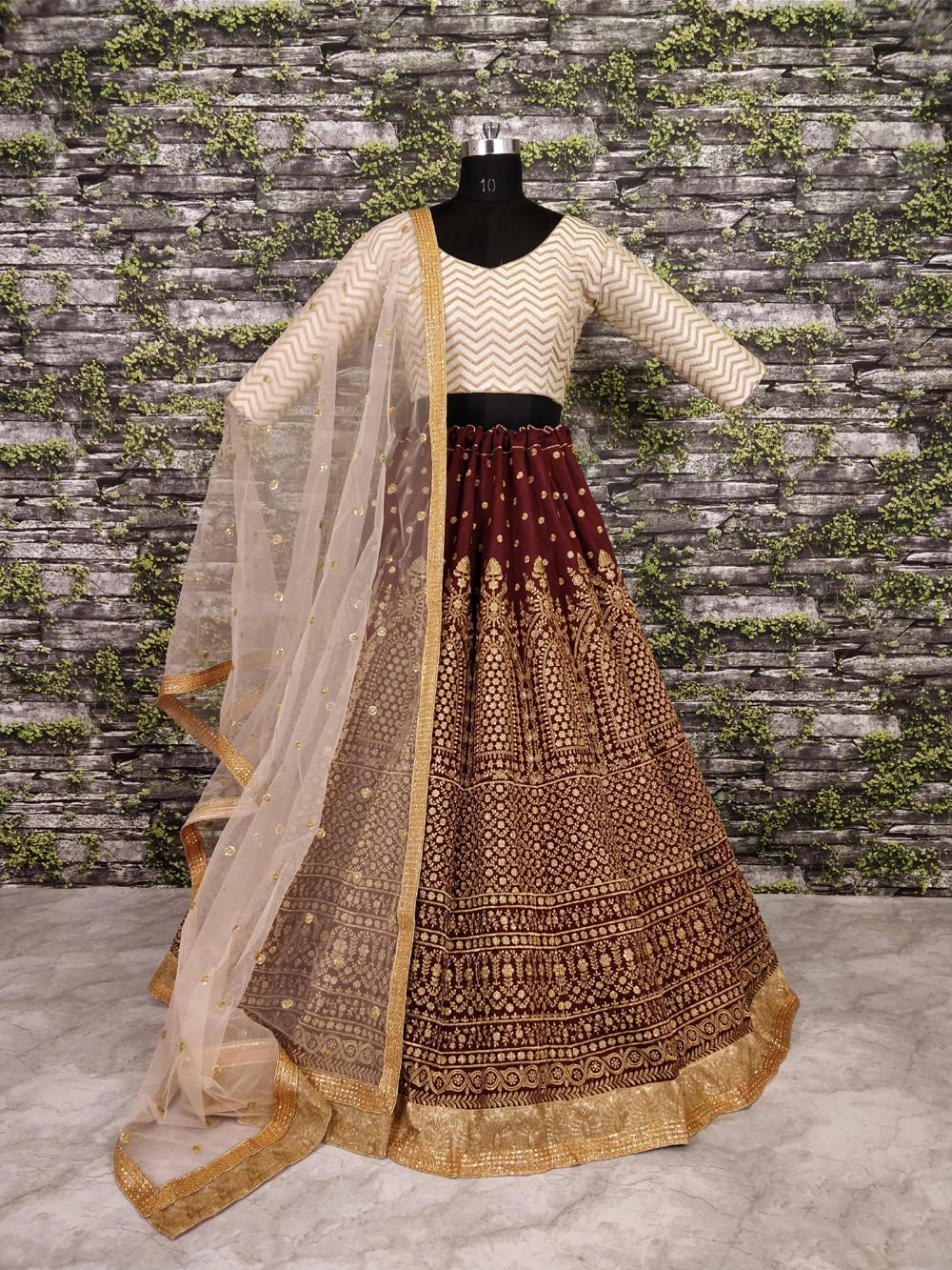 Latest Maroon Color Wedding Wear Embroidery Lehenga Choli