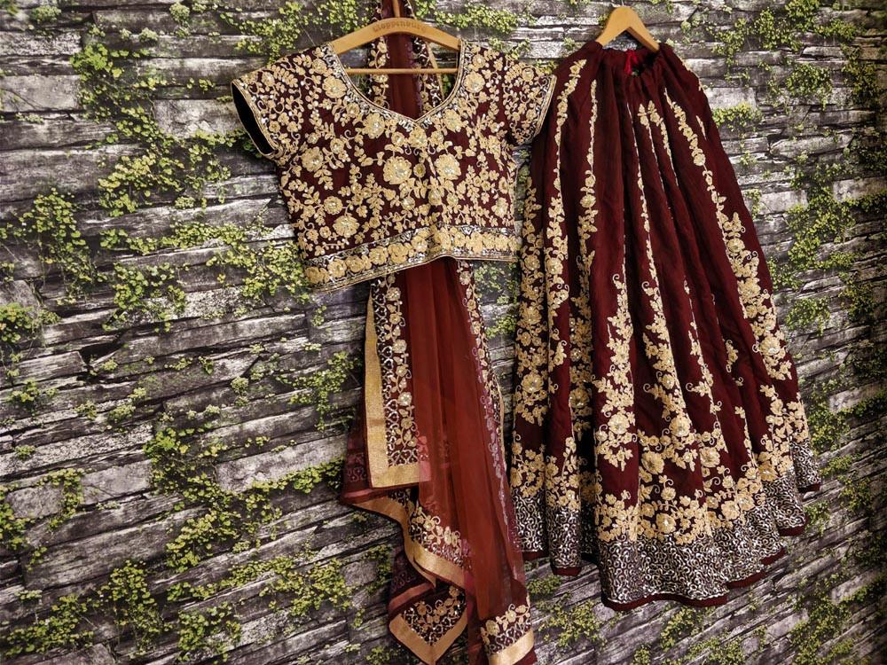 New Presenting Maroon Color Embroidery Work Lehenga Choli