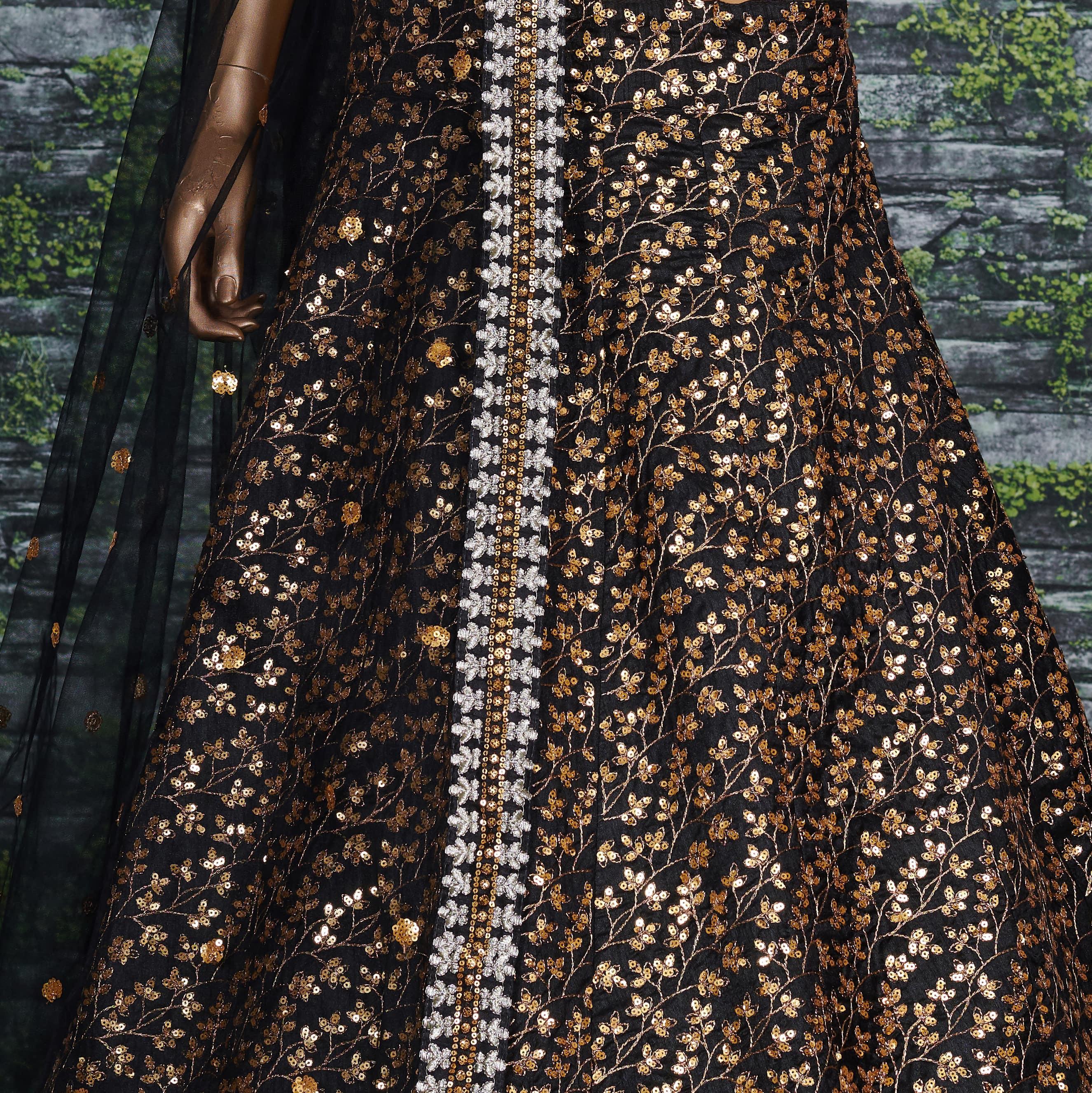 Stunning Black Color Designer Embroidery Work Lehenga Choli