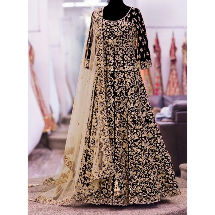 Designer Black Embroidery Work Semi-Stitched Wedding Salwar Suit