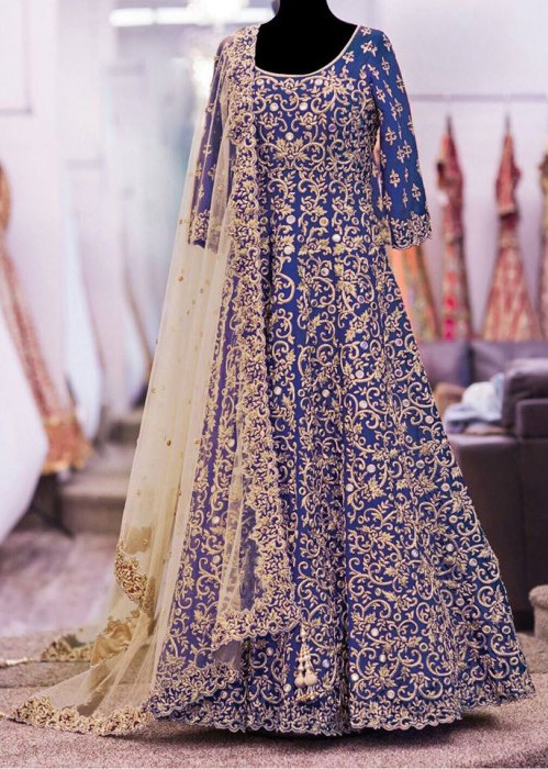 Designer Blue Embroidery Work Semi-Stitched Wedding Salwar Suit