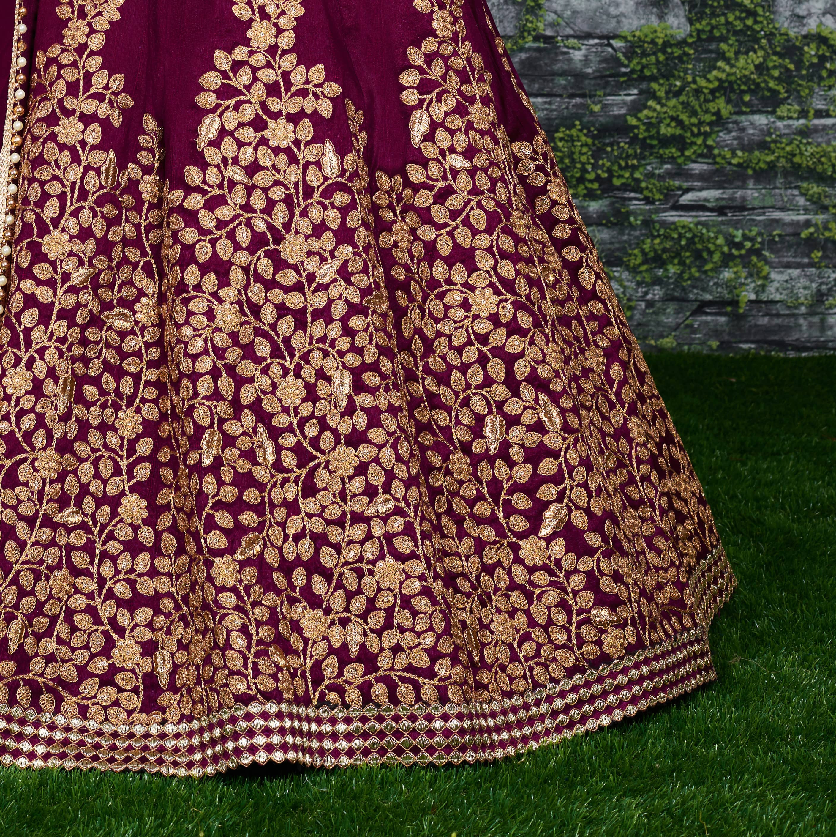Stylish Wine Color Embroidery Work Lehenga Choli