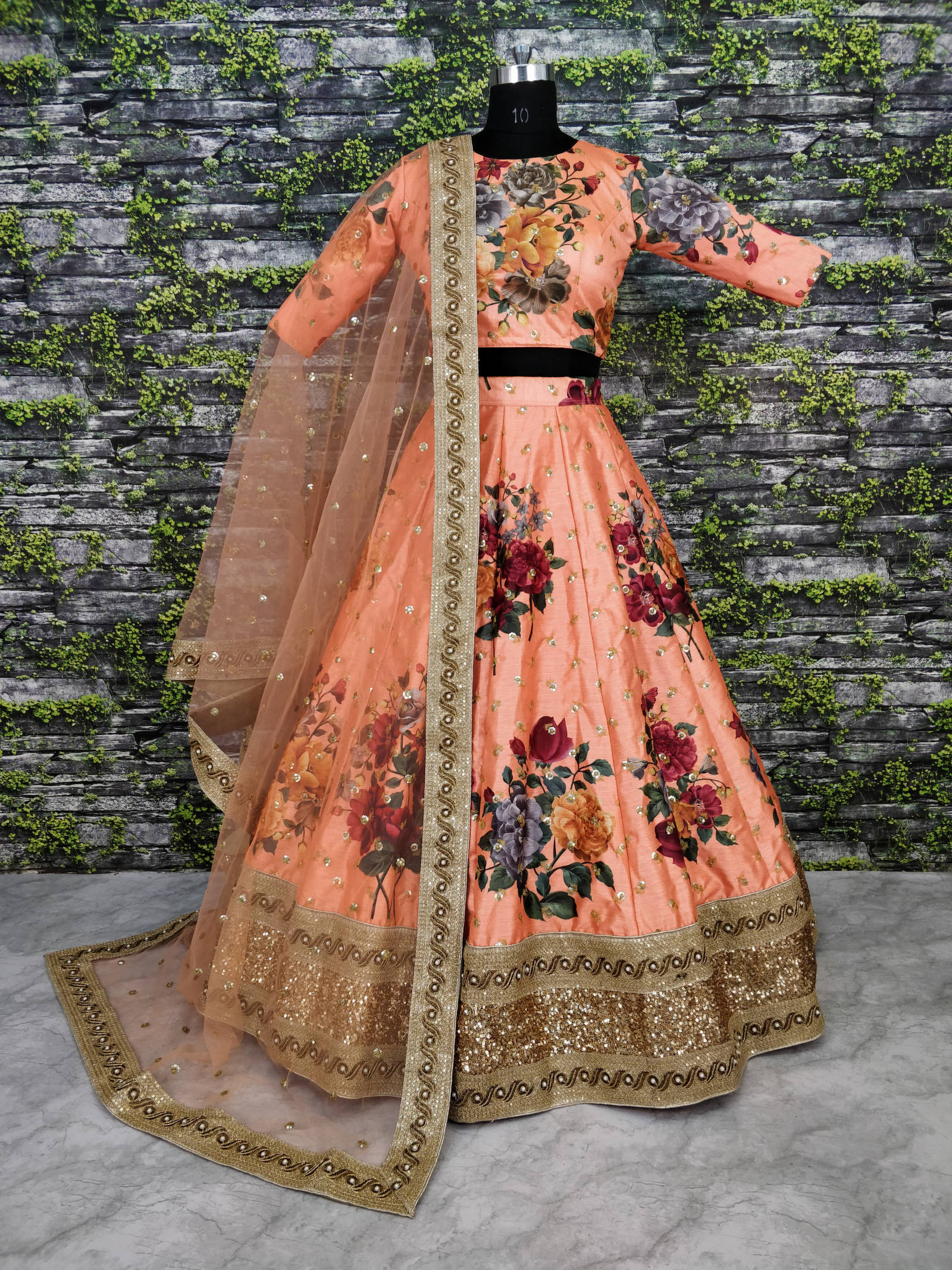 Beautiful Preach Color Flower Color Lehenga Choli