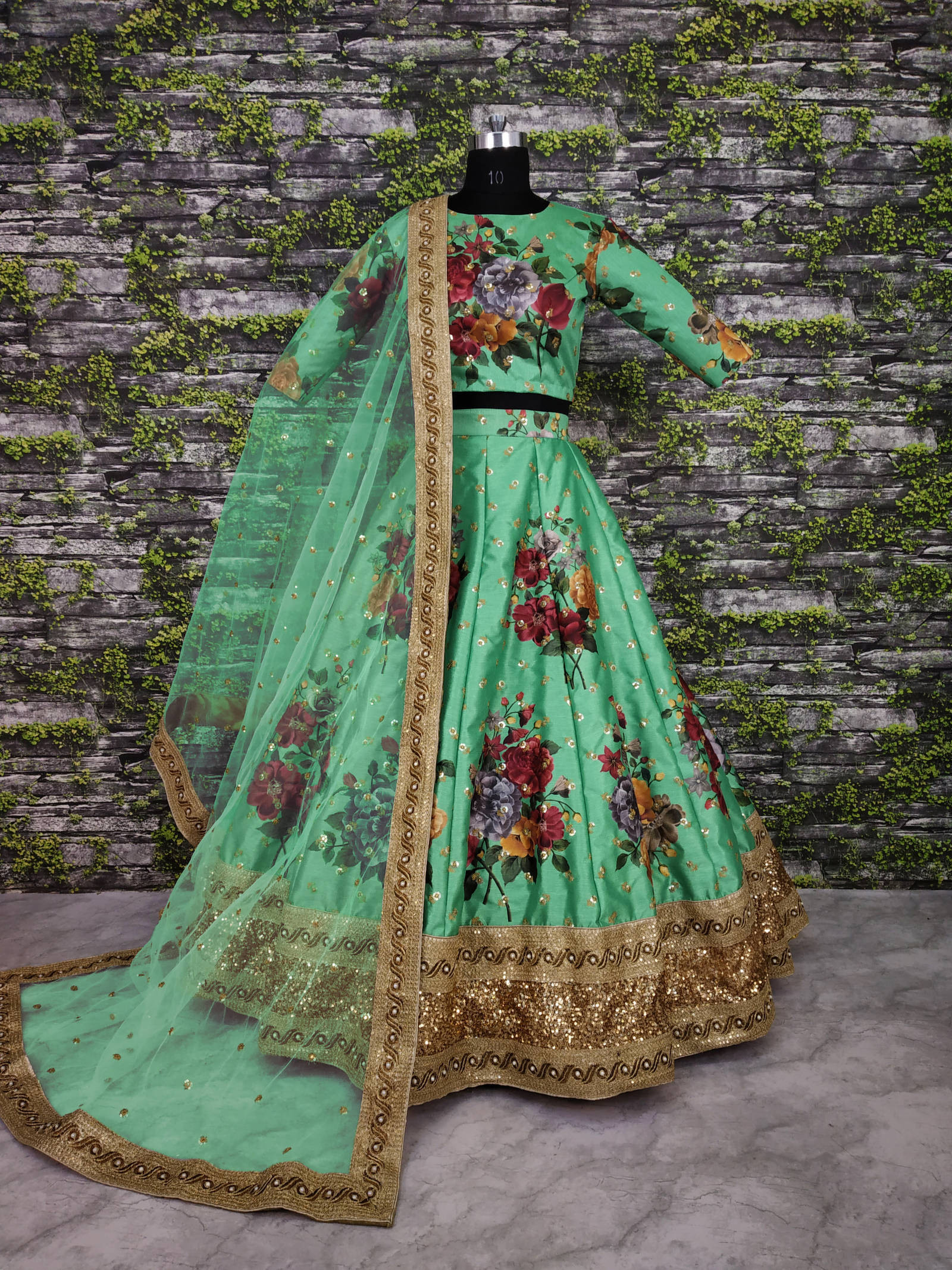 New Pista Color Digital Flower Printed Lehenga Choli