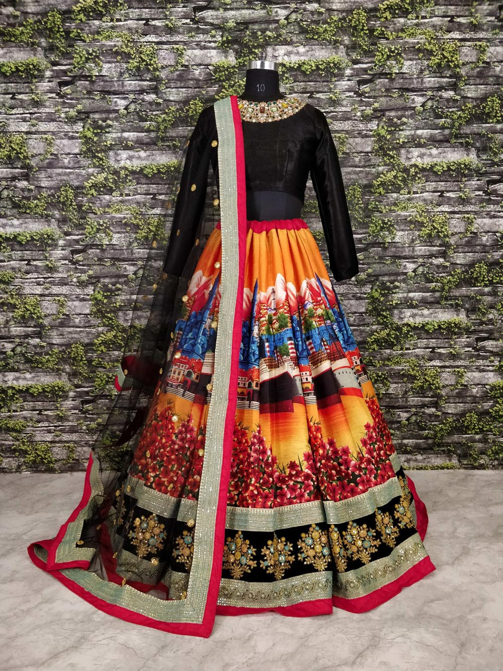 Beautiful Black Color Digital Printed Lehenga Choli