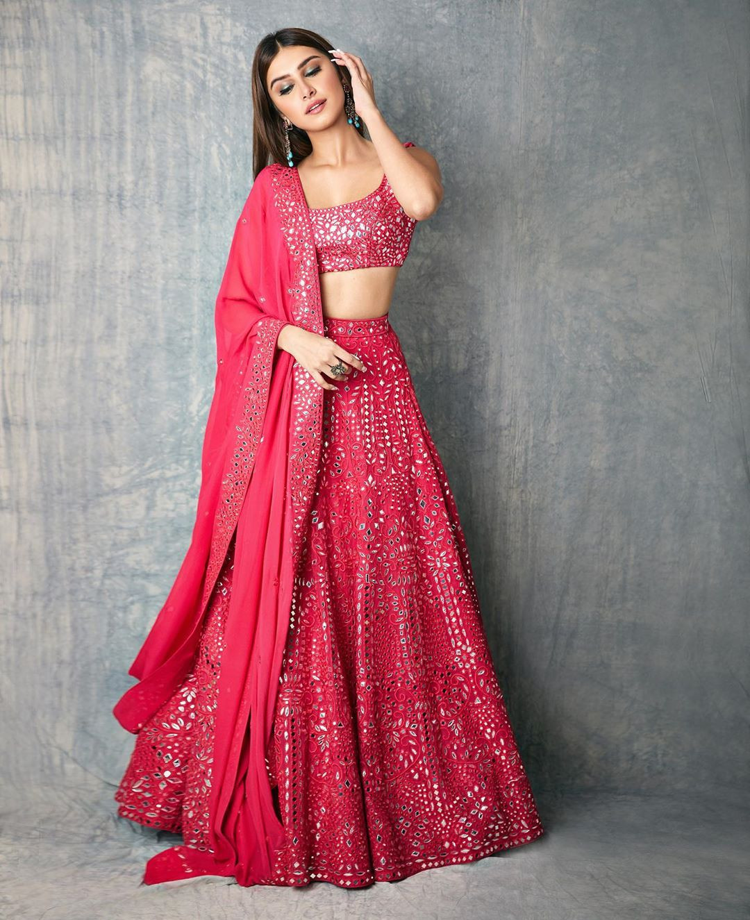 Tara Sutaria Pink Color Festival Wear Lehenga Choli