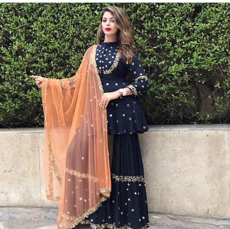 Stylish Navy Blue Color Embroidery Work Plazzo Suit
