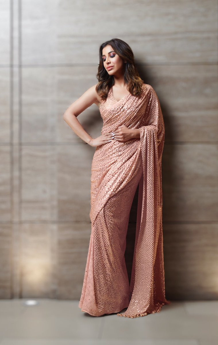 Stylish Peach Color Georgette Sophie Choudry Wear Bollywood Saree