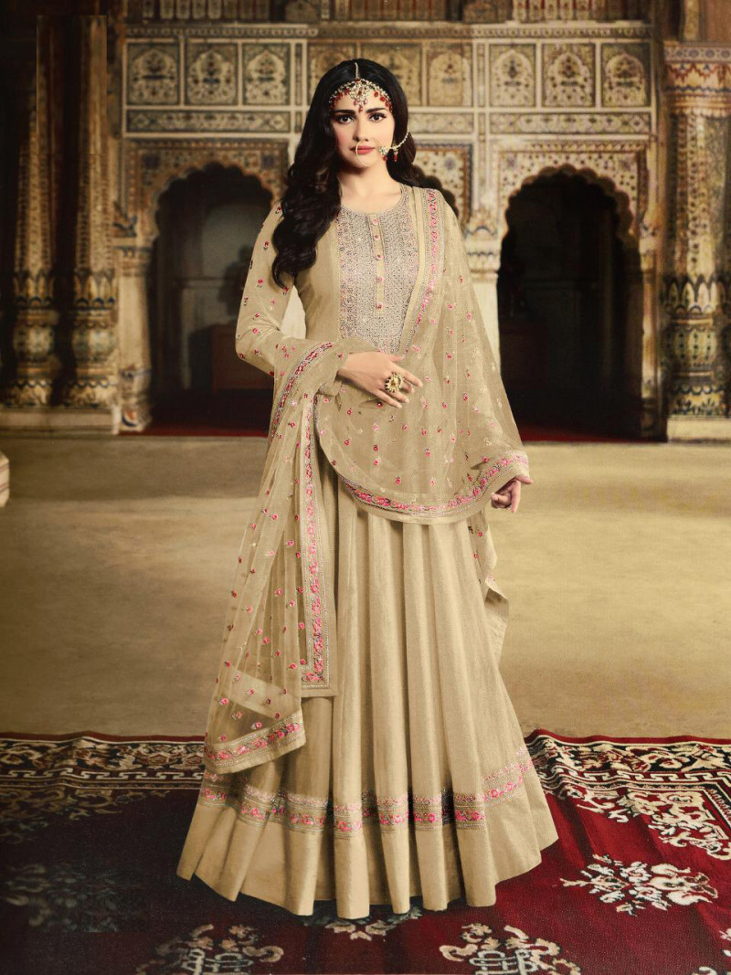 Beautiful Beige Colored Party Wear Embroidery Work Anarkali Suite