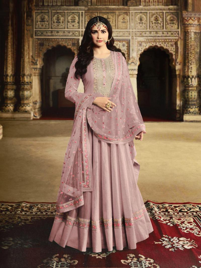 Prachi Desai Presenting Light Purple Color Embroidery Work Party Wear Anarkali Suit
