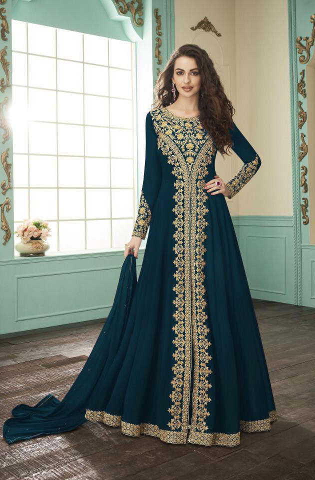 New Presenting Peacock Color Embroidery Work Anarkali Suit