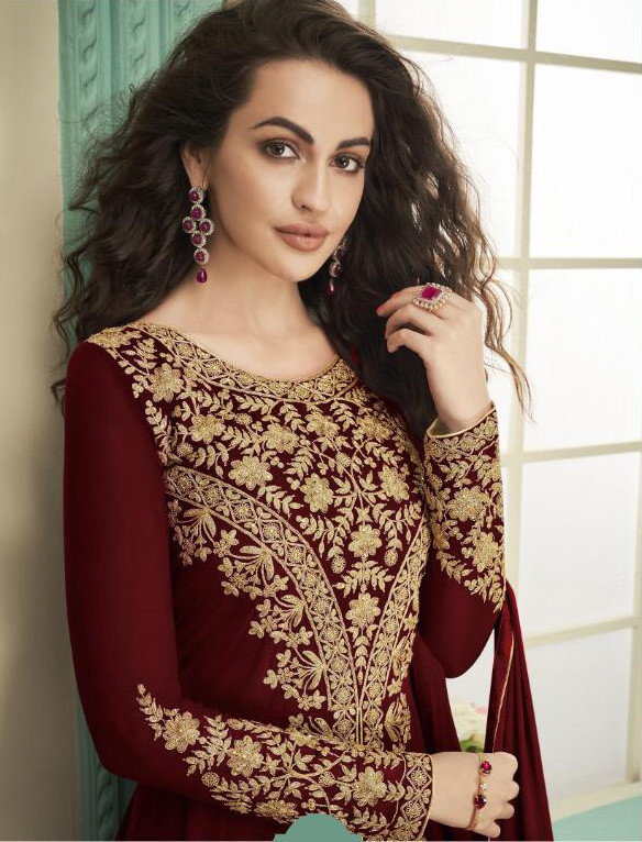 Amazing Maroon Color Party Wear Embroidery Georgette Anarkali Suite