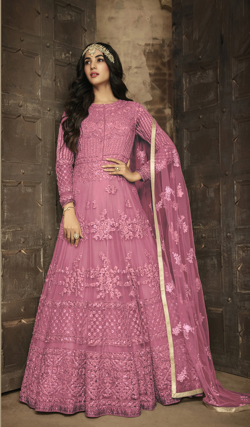 Stunning Pink Color Embroidery Work Party Wear Anarkali Suit